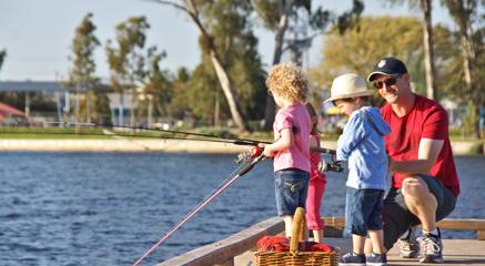 Fishing at the lake.